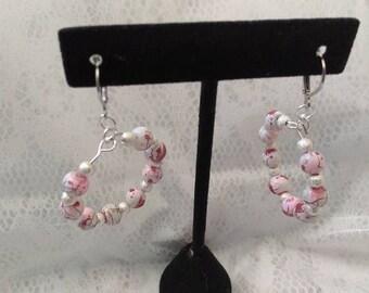 Multi White lever back bead earrings 6MM