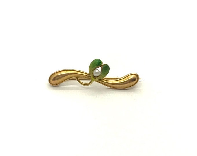 Yellow Gold Enamel Art Nouveau Pin, Enamel Pin with Pearl, Vintage Enamel and Pearl Pin, Vintage Pin, Antique Pin with Enamel