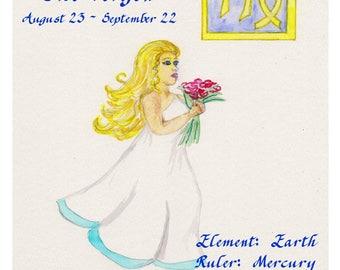 Virgo Zodiac Sign Watercolor Print, The Virgin Horoscope Painting, Astrology Text Art, August and September Birthdays, Constellation, Stars