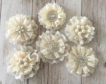 6 lace flowers, handmade lace flowers