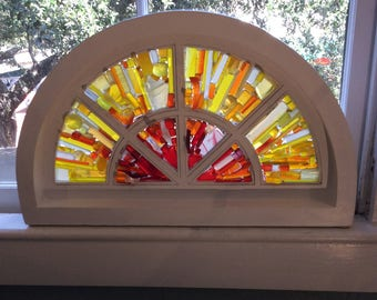 Sea glass sunburst window - ready to ship