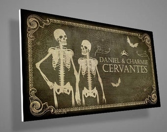 Personalized skeletons door sign,front door sign with custom names,door sign,couple,family sign,christmas gift,skull,skeleton,housewarming