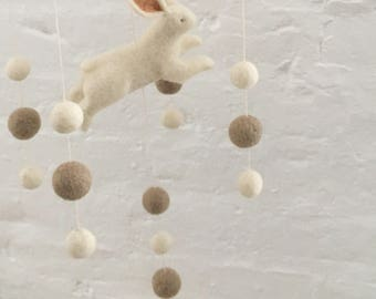 Bunny Mobile. Baby Mobile. Hanging Mobile. Baby Shower Gift. Baby Crib Mobile. Felted Mobile. Nursery Decor. Bunny Themed Nursery.