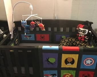 Marvel Avengers Crib Set, DC Comics Blankets, Superhero nursery , DC Comics, Avengers, Marvel, Vintage comics