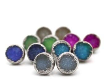 druzy stud earrings, druzy earrings,  silver earrings, silver studs