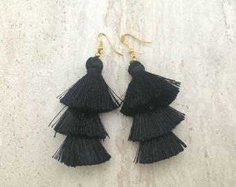 Black Silk Tassel Earrings, Tassel Earrings, Black Earrings, Black Tassel Earrings, Handmade Earrings, Christmas Gift, Black Earrings
