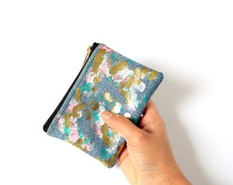 Gold smoke rectangle coin purse / Small zip pouch