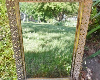 Vintage Gold Filigree Rectangular Dresser Mirror, Vanity Mirror, Perfume Tray, Mirrored Tray, Foldout Stand On the Back, Gold, Shabby Chic