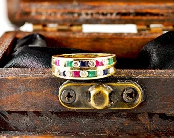 Vintage, 14k, Gold, Yellow Gold, Ladies, Natural Rubies, Emeralds, Sapphires, Diamonds, Retro Style, Ring