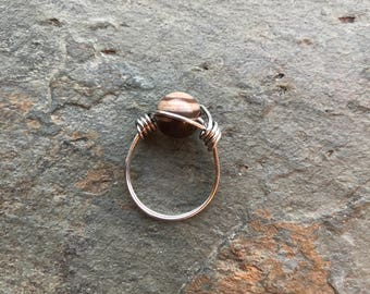 Brown Zebra Stone Wrapped Wire Ring