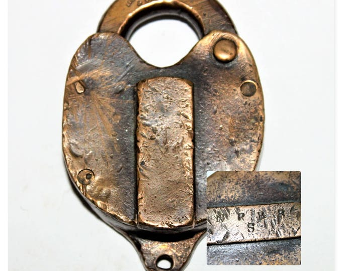 Antique Loeffelholz & Co. Switch lock for The Northern Pacific Railroad, Brass Switch Lock