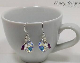 """Swarovski Crystal Heart Butterfly Earrings - """"Cinderella in the Garden"""""""