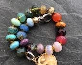 Ombré beaded bracelet - colorful charm bracelet, rainbow stacking bracelet, cross charm bracelet, women's bracelet, UK bracelet