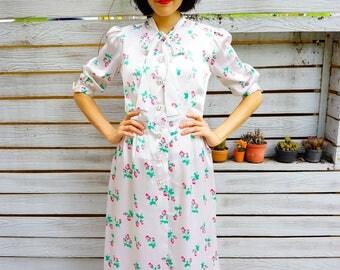 Vintage Dress, 1980s Dress, Vintage Japanese Dress, Womens Dress, Summer Dress, 80s Dress, Retro clothing, Rose Dress, Bow tie Dress