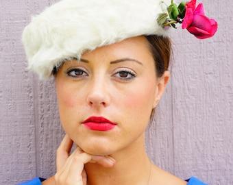 Vintage Hat, Vintage Womens Hat, 1950s Millinery, Vintage Pillbox, Pillbox Hat, Vintage Millinery, White Fur Hat, Bucket Hat