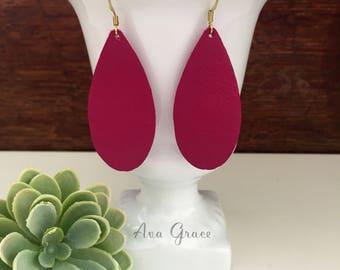 SALE** Leather teardrop earrings