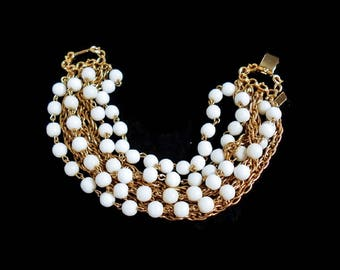 Vintage Chain Bracelet Signed MARVELLA. Faux Pearl White Bead Gold Multi Chain Bracelet 7 inches