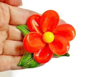 Orange Flower Brooch Green Leaves, Enameled Metal 6 Petal Hot Orange Flower Pin Vintage Jewelry