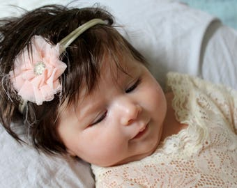 Blush Flower baby headband,Newborn headband, Newborn Photo Props, Shabby Flower Headband,Baby Headband, Baby Shower Gift