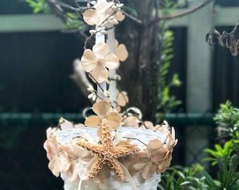 beach flower girl basket with starfish and flowers destination wedding accessory beach wedding