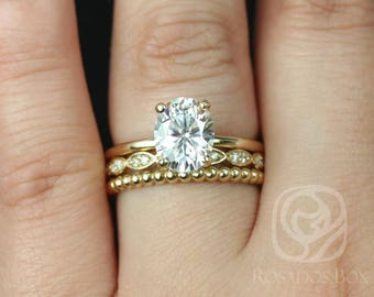 Rosados Box Harper 9x7mm, Christie, Buddha Beads 14kt Yellow Gold Oval F1- Moissanite and Diamonds TRIO Wedding Set
