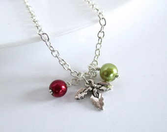 Holly Necklace, Charm Necklace, Necklace for Women, Winter Wedding, Holiday Necklace, Ladies Gift, Christmas Pendant, Holly Pendant