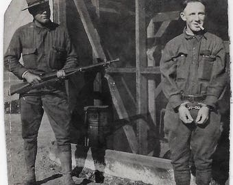 Old Photo Us Soldiers 1 with Rifle 1 in Hand Cuffs with Cigarette 1910s Uniforms Photograph vintage