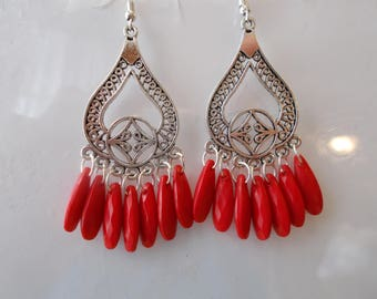 Silver Tone Chandelier Earrings with Red Bead Dangles
