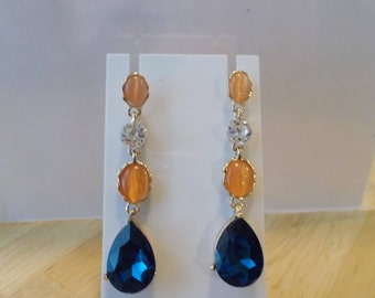Gold Tone Post/Stud Dangle Earrings with clear, Amber and Blue Crystal Beads