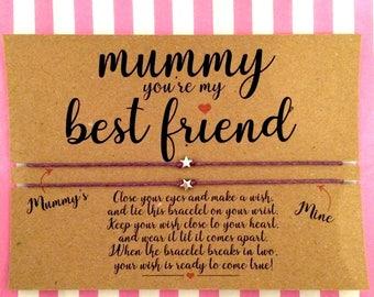 Mummy you're my best friend Wish Bracelet, Best friend Gift, Friendship Bracelet, Mummy and me