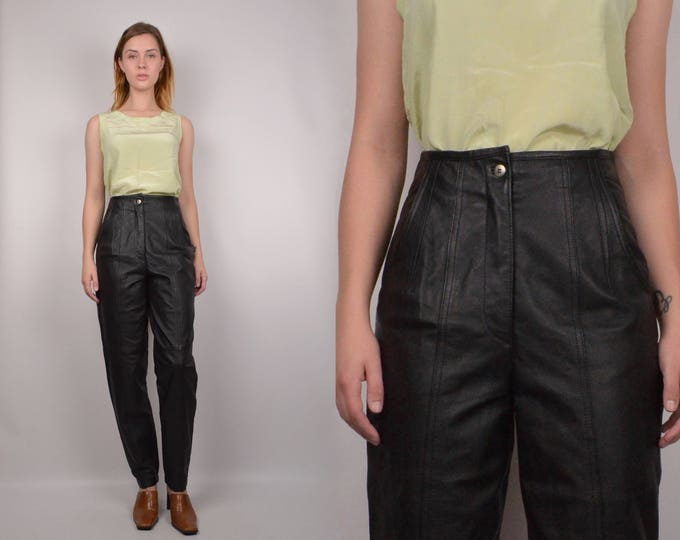 Vintage Leather Tapered Leg Pants