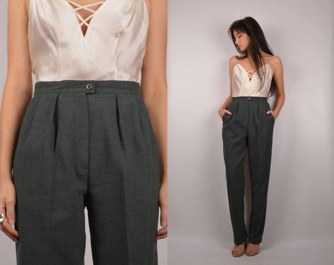 Vintage Moss Wool Trousers