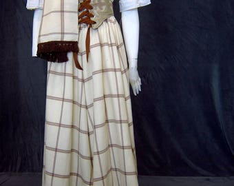 Celtic Wool Skirt Shawl Set White Wool Maxi Skirt Wool Shawl Drawstring Skirt Plaid Maxi Skirt Celtic Skirt Woolen Skirt