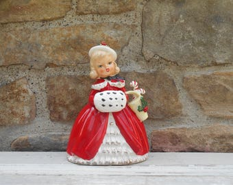 Large Napco 1956 Figurine Planter Girl with Muff and Candy Cane Basket Original Paint Christmas Ceramic Kitsch CX2266C Holiday Decor Vase