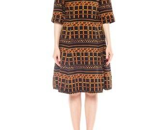 1960s Wool Mod Geometric Print Dress Size: 6