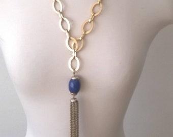 Vintage Tassel Gold Necklace  - Long Tassel Oversized Blue Pendant Retro Chunky Jewelry 1970s