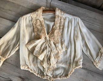 Antique Ruffled Lace Blouse, Edwardian Tea Jacket, Period Clothing