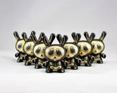"Custom Hand Painted 3"" Kidrobot Dunny Skeletons by Kendra Thomas"