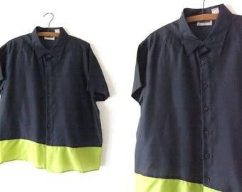 Subtle Color Block Silk Shirt - Crop Sleeve Black and Lime Green 90s Boxy fit Baggy Minimalist Vaporwave Button Down Shirt - Mens Medium