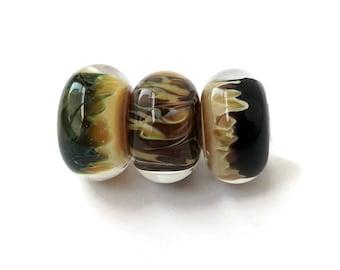 Boro Glass Lampwork Beads, 8x13-14mm Lampwork Beads, Encased Flames and Swirls, Peach Black Green Brown, Borosilicate Glass Beads