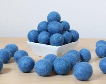 Felt Balls: FRENCH BLUE, Felted Balls, DIY Garland Kit, Wool Felt Balls, Felt Pom Pom, Handmade Felt Balls, Blue Felt Balls, Blue Pom Poms