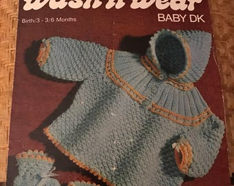 Sirdar Wash'n'Wear Baby DK 3147 English Vintage 1960s Knitting Pattern Hooded Coat and Booties / Bootees