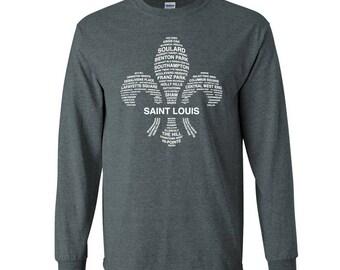 STL Neighborhoods Tee, St Louis T-Shirt, Soft T-Shirt, Saint Louis, FLeur De LIs
