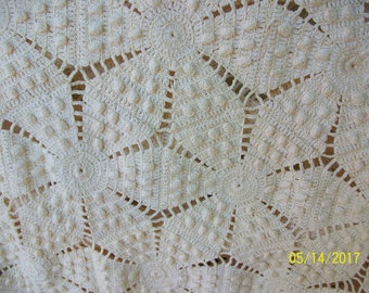 FREE SHIPPING   Crochet   Bed Coverlet -  MidCentury -  Not a flaw in it -