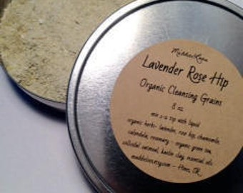 VEGAN/ORGANIC Lavender Rose Hip Cleansing Grains- Sensitive Skin- Gentle for Everyday-8oz. tin