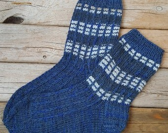 Hand Knitted Wool Socks For Men-Colorful socks-Multiple sizes