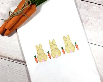 Vintage Bunny Tea Towel, Easter Bunny Kitchen Towel, Bunny And Carrot Flour Sack Towel, Easter Decor, Easter Gift For Her, Bunny Dish Towel