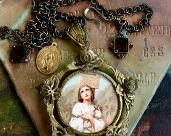 Incredible Young Joan of Arc at the Stake in Star Frame Necklace