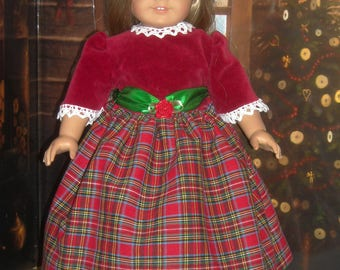 """American Girl 18"""" Doll Red Tartan (Plaid) Christmas Dress and Accessories"""