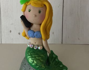 Polymer clay cake topper, Mermaid cake ,birthday cake topper,,handmade